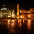 Night shot of Saint Peters basilica, Roma, Italy — Stock Photo #19696495