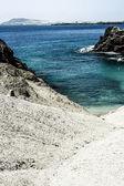 Turbulent ocean waves with white foam beat coastal stones — Stock Photo