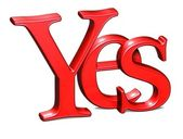 3D Red word Yes on white background — Stock Photo