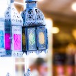 moroccan glass and metal lanterns lamps in marrakesh souq — Stock Photo #20256105