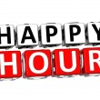 3D Happy Hour Button Click Here Block Text  — Стоковая фотография