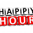 3D Happy Hour Button Click Here Block Text  — Stock Photo