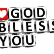 Stock Photo: 3D God Bless You Button Click Here Block Text