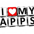 3D I Love My Apps Button Click Here Block Text — Stock Photo