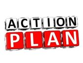 3D Action Plan Button Click Here Block Text — Stock Photo
