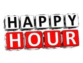 3D Happy Hour Button Click Here Block Text — Foto de Stock