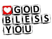 3D God Bless You Button Click Here Block Text — Stock Photo