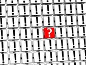 3D Red Question Mark inside exclamation marks blocks — Stock Photo