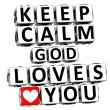 3d keep calm god loves you button click here block text — Stock Photo