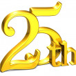 3D Gold Twenty-Fifth on white background  — Stock Photo
