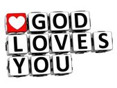 3D God Loves You Button Click Here Block Text — Stock Photo