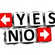 3D Yes No Button Click Here Block Text — Stock Photo