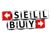 3D Sell Buy Button Click Here Block Text — Stock Photo