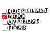 3D Excellent Good Average Poor Button Click Here Block Text — Stock Photo