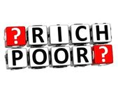 3D Rich Poor Button Click Here Block Text — Stock Photo