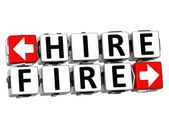 3D Hire Fire Button Click Here Block Text — Stock Photo