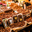 Stock Photo: Nuts and dried fruit for sale in souk of Fes, Morocco