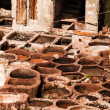 Old tanks of the Fez's tanneries with color paint for leather, Morocco, Africa — Stock Photo