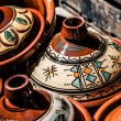 Selection of very colorful Moroccan tajines (traditional casserole dishes) — Stock Photo #23250384