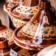 Selection of very colorful Moroccan tajines (traditional casserole dishes) — Stock Photo #23252592