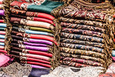 Bright paints of the Moroccan and berber carpets — Stock Photo