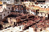 Tanneries of Fes, Morocco, AfricaOld tanks of the Fez's tanneries with color paint for leather, Morocco, Africa — Zdjęcie stockowe