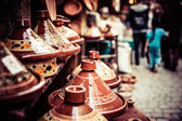 Selection of very colorful Moroccan tajines (traditional casserole dishes) — Stock Photo