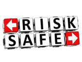 3D Risk Safe Button Click Here Block Text — Stock Photo