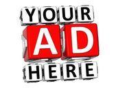 3D Your Ad Here Button Click Here Block Text — Stock Photo