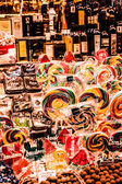 Famous sweet candy market in Barcelona, Spain — Stok fotoğraf