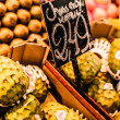 Fresh green Cherimoyas in Central Market, Barcelona, Spain. - Stock Photo