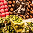 Fruits stand in La Boqueria market, Barcelona Spain - Stock Photo