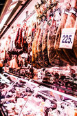 Jamon - traditional meat at spanish market — Stock Photo