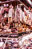 Jamon - traditional meat at spanish market — Stok fotoğraf