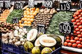 Fruits stand in La Boqueria market, Barcelona Spain — Stock Photo