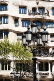 BARCELONA, SPAIN - APRIL 13: Casa Mila (La Pedrera) on April, 13 2013 in Barcelona, Spain. This famous building was designed by Antoni Gaudi. — Stock Photo