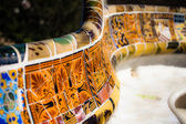 BARCELONA,SPAIN-APRIL 13: Detail of the bench in the park Guell, designed by Antonio Gaudi, on April, 13 2013 in Barcelona. Part of the UNESCO World Heritage Site Works — Stock Photo