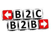 3D B2B B2C Button Click Here Block Text — Stock Photo