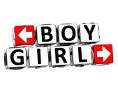3D Boy Girl Button Click Here Block Text — Stock Photo