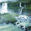Iguassu Falls, the largest series of waterfalls of the world, located at the Brazilian and Argentinian border, View from Brazilian side — Stock Photo