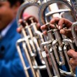 Trombones playing in a big band.  — Stock Photo