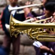 Trombones playing in a big band. — Stockfoto