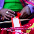 Traditional hand weaving in the Andes Mountains, Peru — Stok fotoğraf