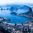 Stock Photo: Rio de Janeiro, Brazil. Suggar Loaf and Botafogo beach viewed from Corcovado