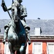 Bronze equestrian statue of King Philip III from 1616 at the Plaza Mayor in Madrid, Spain. — Stock Photo