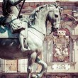 Bronze equestrian statue of King Philip III from 1616 at the Plaza Mayor in Madrid, Spain. — Стоковое фото