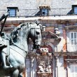 Bronze equestrian statue of King Philip III from 1616 at the Plaza Mayor in Madrid, Spain. — Stock fotografie #27428769