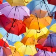 Background colorful umbrella street decoration. — Стоковая фотография