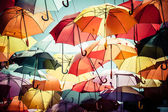 Background colorful umbrella street decoration. — 图库照片