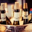 Stock Photo: Wine bar tasting set up tray decoration bottles in restaurant